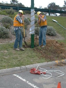 Pole getting put in place